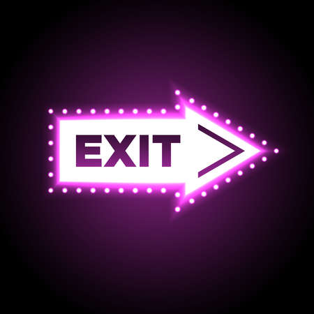 glow in the dark: Illuminated arrow shaped 3D exit sign. Escape neon symbol isolated on black background for casino decoration. Vector illustration