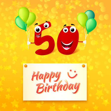 50 years anniversary: Fifty Birthday festive greeting card with typography. Cartoon illustration for 50 years anniversary with number characters and text Happy Birthday. Vector illustration Illustration