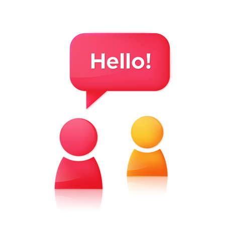 chat room: Two simple people figures with dialog speech bubble and text Hello. Chat room icon design concept. Vector illustration Illustration