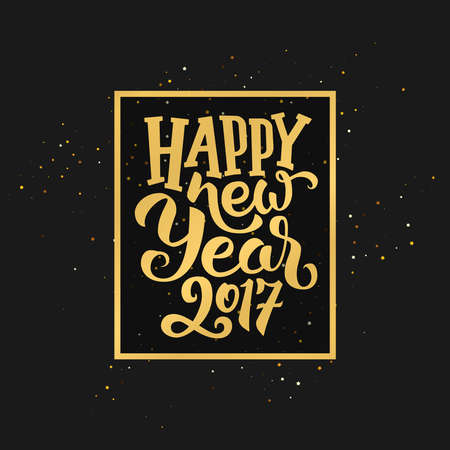 happy new years: Happy New Year 2017 golden typography on black background. Greeting card design with hand lettering inscription for winter holidays. Vector festive illustration with calligraphy