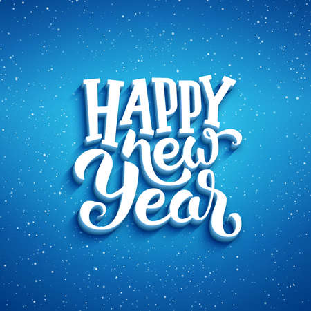 greeting card background: Happy New Year lettering on blue blurry vector background with sparkles. Greeting card design template with 3D typography label