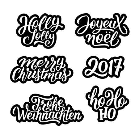 Merry Christmas vector labels set with french and german greetings text. Holly jolly, Ho-ho-ho and 2017 hand lettering on black-white stickers collection.