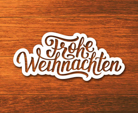 deutsch: Frohe Weihnachten deutsch text on white paper label with hand lettering over wooden background. Merry Christmas sticker or greeting card vector design template with german inscription