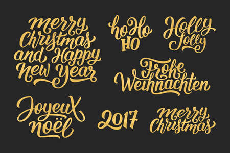 joyeux: Merry Christmas and Happy New Year 2017 vector golden lettering set on black with french, english and german greetings. Holly Jolly, Frohe Weihnachten and Joyeux Noel calligraphic text