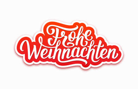 deutsch: Frohe Weihnachten deutsch text on paper label with hand lettering over white background. Merry Christmas sticker or greeting card vector design template with german inscription Illustration