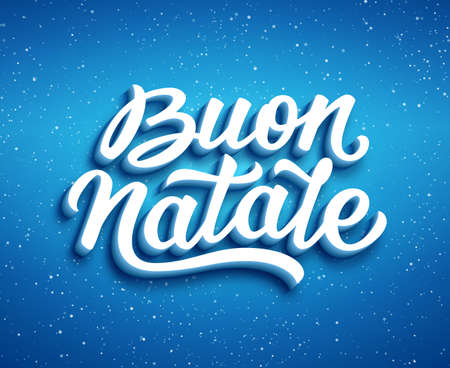 Merry Christmas calligraphic text in italian on blue vector background with sparkles. Christmas greeting card design with 3D typography