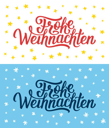 frohe: Merry Christmas retro flat greeting cards or flyers set with hand lettering. Xmas greetings text on german language. Illustration