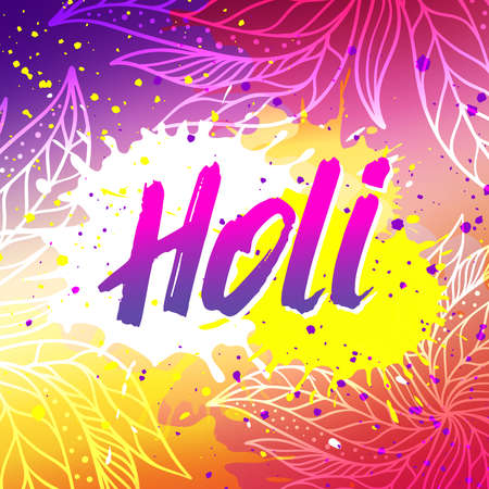 pichkari: Happy Holi festival vector banner design with lettering, paint splashes and mehndi. Abstract background for Indian spring holiday