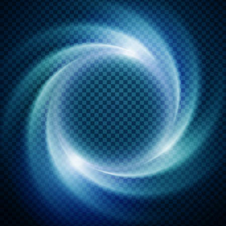 Vector light effect on transparent background. Glowing cosmic vortex or super nova illustration.