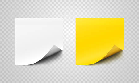 White and yellow realistic sticky paper sheets with curl on corners over transparent background. Vector design elements