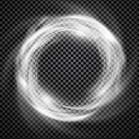 Vector efecto de luz sobre fondo transparente. Brillante vórtice cósmico o anillo de humo ilustración.