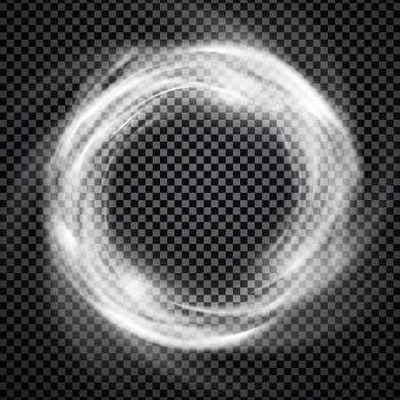 transparency: Vector light effect on transparent background. Glowing cosmic vortex or smoke ring illustration.