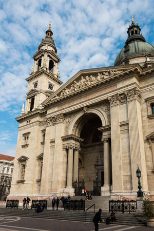 hungarian: Budapest, Hungary - March 08, 2017: West facade of St. Stephens Basilica, the roman catholic church in neoclassical style that completed in 1905 Editorial