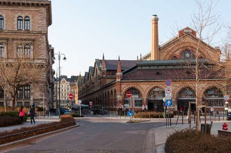 Budapest, Hungary - March 08, 2017: Street view to south entrance of famous historic Great Market Hall in Pest historic center