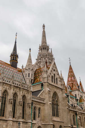 Matthias Church in Buda castle on a cloudy day in Hungary capital Budapest Stock Photo