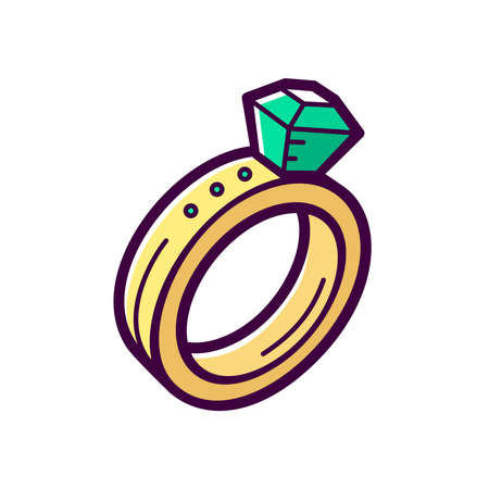 Golden engagement ring with big emerald isolated on white background. Fashionable jewelry accessory with diamond. Vector icon in outline cartoon style for t shirt or logo design.