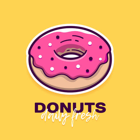 Donut with pink icing in modern flat outline style and slogan Daily Fresh.