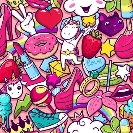 Nahtloses Muster der Graffiti mit mädchenhaften Artgekritzeln. Vektorhintergrund mit verrückten Elementen der kindischen Mädchenleistung. Modische lineare Artcollage mit seltsamen Straßenkunstikonen.