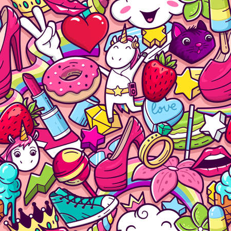 Graffiti seamless pattern with girlish style doodles. Vector background with childish girl power crazy elements. Trendy linear style collage with bizarre street art icons. Illustration