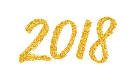 Happy New Year 2018 greeting card design template with golden text on white background. Illustration