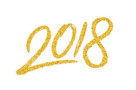 Modello di progettazione di cartolina d'auguri di felice anno nuovo 2018 con testo dorato su sfondo bianco. Calligrafia per l'anno cinese del cane. Illustrazione vettoriale Vettoriali