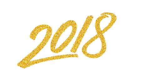 Gelukkig Nieuwjaar 2018 wenskaart ontwerpsjabloon met gouden tekst op witte achtergrond. Kalligrafie voor Chinees jaar van de hond. Vector illustratie Stock Illustratie