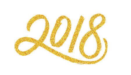 New Year 2018 greeting card design template with golden text design illustration.