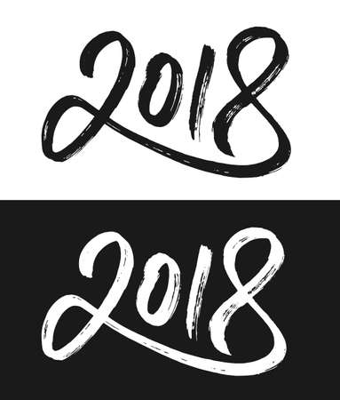 Happy New Year 2018 greeting card template. Hand drawn calligraphic number 2018 with rough contour on black and white backgrounds for Chinese Year of the Dog. Vector illustration. Illustration