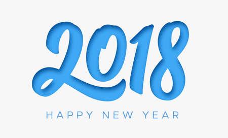 Tarjeta de felicitación de feliz año nuevo 2018 con dígitos de corte de papel sobre fondo blanco. Vector talla ilustración de estilo de arte para la invitación, calendario o plantilla de banner para el año chino del perro Ilustración de vector