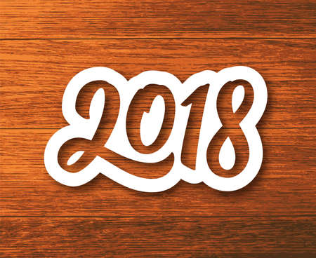 New Year 2018 paper label with calligraphic number on wood background. Vector greeting card design template for winter holidays