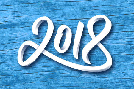 Happy New Year 2018. Paper 3D calligraphic number on blue wood background. Vector greeting card design template for winter holidays