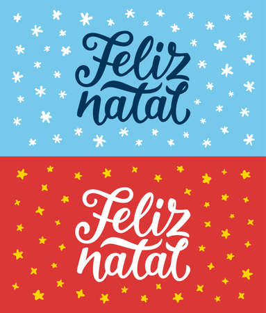 Feliz Natal portuguese Merry Christmas calligraphy text on retro style flat greeting cards set.