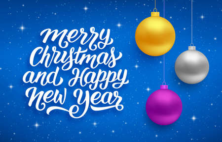 Holiday seasons greetings text with sparkles and colorful hanging balls Vector illustration