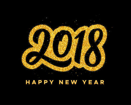 Happy New Year 2018 greeting card design with golden calligraphic text on black background. Vector festive illustration with modern typography.