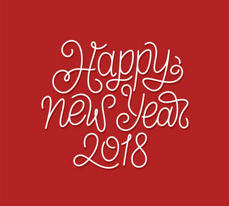 Happy New Year 2018 calligraphic line art style lettering quote on red background. Gift card design with wishes for winter holiday. Vector modern typography