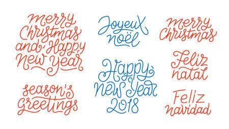 Merry Christmas, Happy New Year 2018, Feliz Navidad, Feliz Natal, Joyeux Noel, Seasons greetings line art calligraphic lettering quotes isolated on white background. Editable stroke. Typography design Vektorové ilustrace