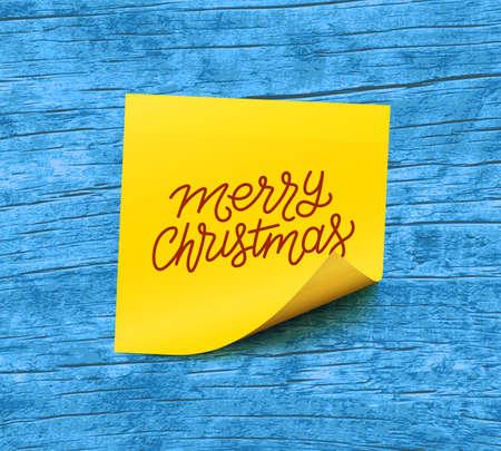 Frohe Weihnachten Text auf gelbem Haftnotiz Papier Vektor-Illustration Vektorgrafik