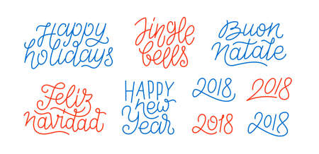 Happy New Year, set of numbers 2018, Feliz Navidad, Buon Natale, Happy Holidays line art calligraphic lettering quotes on white background.