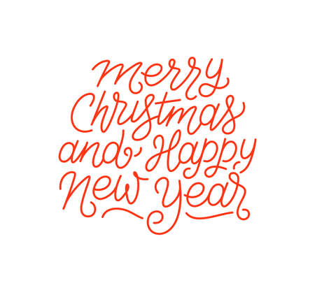 Merry Christmas and Happy New Year calligraphic line art style lettering isolated on white background. Typography text for holiday gift card design. Vector illustration