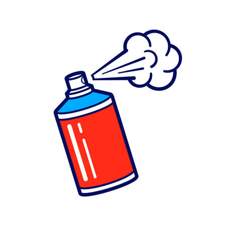 Color spray paint can in flat cartoon style isolated on white background. Vector illustration of use aerosol or hairspray