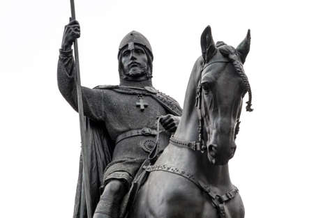 Statue of Saint Wenceslas located in Prague, Czech Republic. Close-up of head of the Vaclav and horse