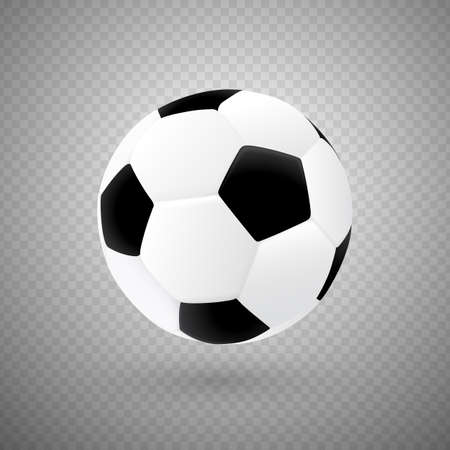 Soccer Ball in black and white colors with classic design. Realistic 3d vector Football game equipment isolated on transparent background.