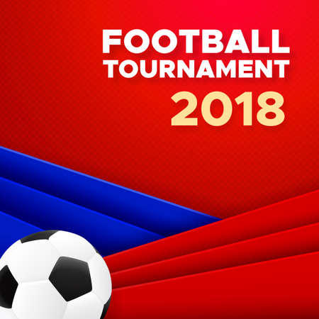 Football sport poster design. Vector background with soccer ball and russian colors red, blue, white. 2018 banner template trend