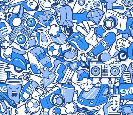 Graffiti wzór z ikonami linii miejskiego stylu życia. Szalony doodle streszczenie tło wektor. Modny kolaż w stylu liniowym z dziwacznymi elementami sztuki ulicznej.