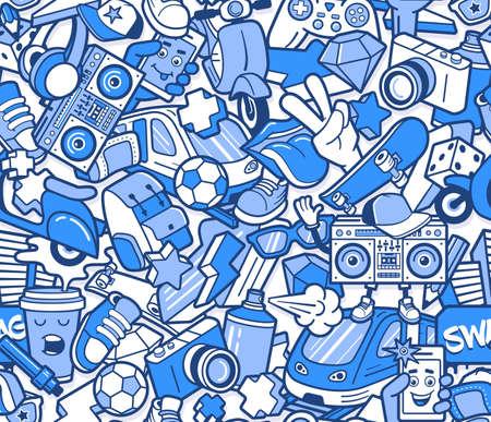 Nahtloses Graffiti-Muster mit städtischen Lifestyle-Linienikonen. Verrückter Gekritzel abstrakter Vektorhintergrund. Trendige Collage im linearen Stil mit bizarren Street Art-Elementen.