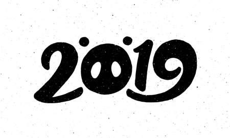 2019 Frohes chinesisches Neujahr des Schweins. Grußkartenentwurf mit Beschriftung und Weinlesebeschaffenheit auf Hintergrund. Vektorillustration