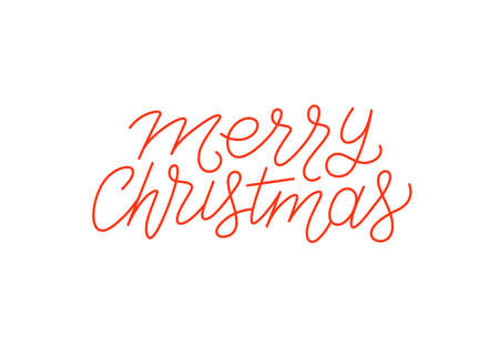 Merry Christmas calligraphic line art style lettering isolated on white background. Typography text for holiday gift card design. Vector illustration