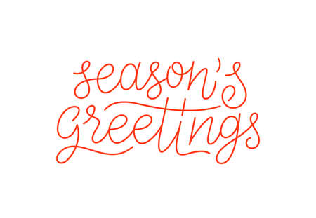 Seasons greetings calligraphic line art style lettering isolated on white background. Typography text for holiday gift card design. Vector illustration
