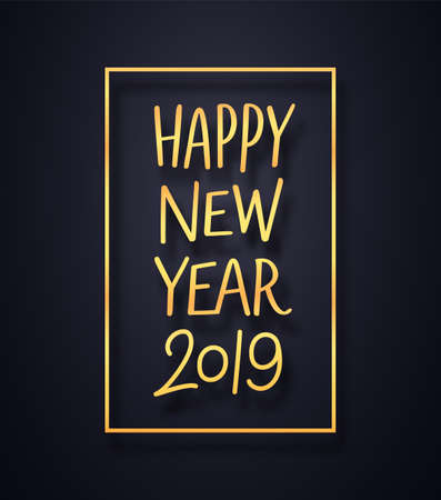 Happy New Year 2019 premium background. Greeting card design template with gold typography in frame on black. Vector illustration for holiday party