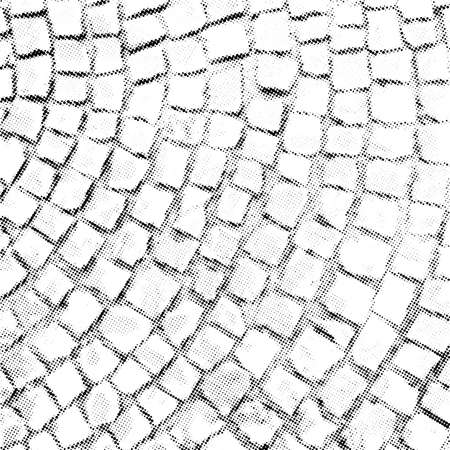 Paving stone vector halftone texture overlay. Monochrome abstract vintage background with sett pattern on the ground